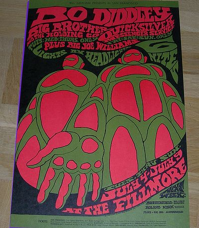 poster, Bo Diddley, Big Brother (m.Janis Joplin) / Quicksilver Messenger, Bill Graham presents at The Fillmore West